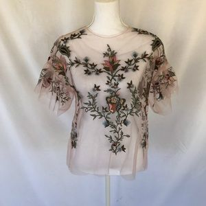 Zara Woman Pink Mesh Embroidered Top Size S